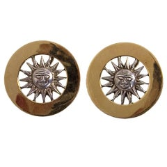 Gucci Gold and Silver Sun Face Earrings