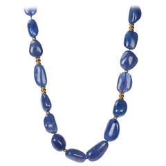 Tanzanite nugget and diamond 18-karat gold necklace