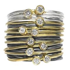 White Diamond Bright Silver Oxidized Silver Yellow Gold Grand Wrap Band Ring