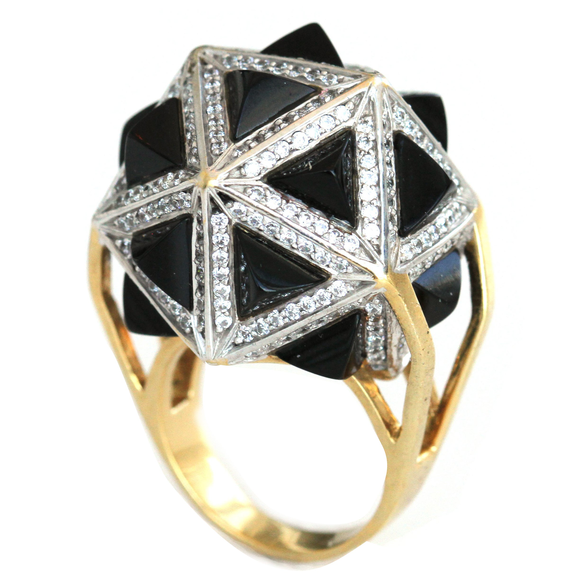John Brevard One of a Kind White Diamond Black Sapphire Pyramids Gold Ring