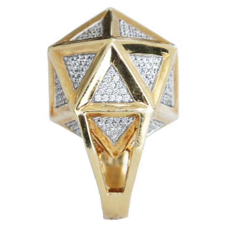 One of a Kind Large Icoso White Diamonds 18K Gold Ring For Sale