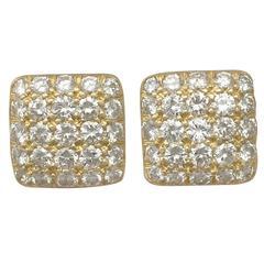 1980s 1.50 Carat Diamond Yellow Gold Cufflinks