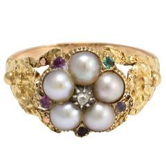 Antique Georgian Acrostic Pearl Gemstone Gold Ring