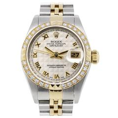Rolex Stainless steel Diamond Bezel Pyramid Dial Datejust Automatic Wristwatch
