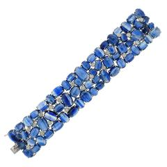 Impressive Kyanite Cabochon Diamond Gold Bracelet