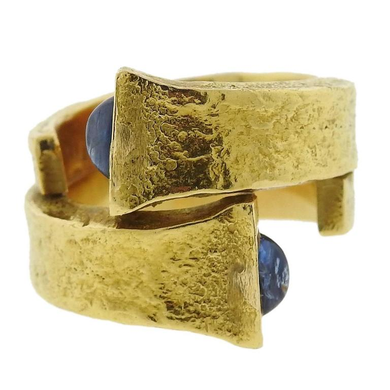 David Webb Iconic Sapphire Gold Rustic Nail Ring For Sale