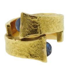 David Webb Iconic Sapphire Gold Rustic Nail Ring