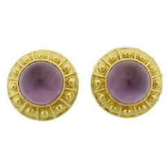 Elizabeth Locke Amethyst Mother of Pearl Gold Earrings
