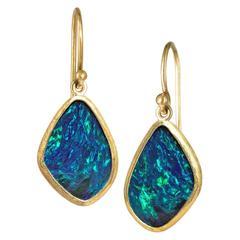 Petra Class Neon Green Flash Blue Opal Doublet Gold Dangle Drop Earrings