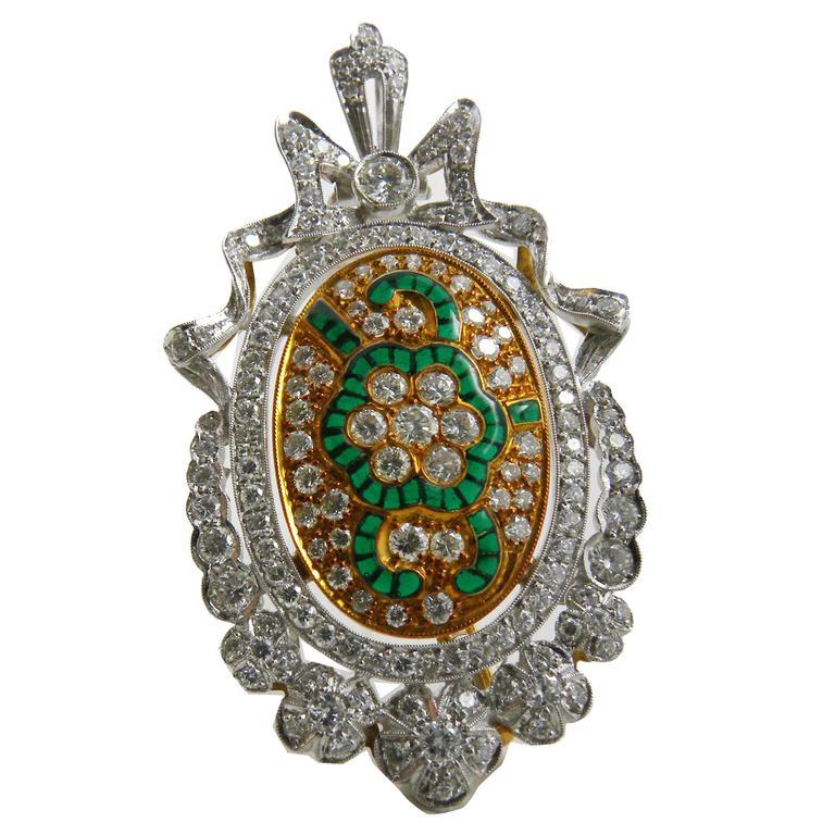 1970s French  Diamond Green Plique à Jour Enamel Brooch Pendant