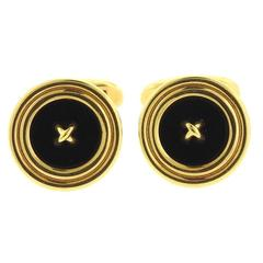 Tiffany & Co Gold Onyx Button Cufflinks