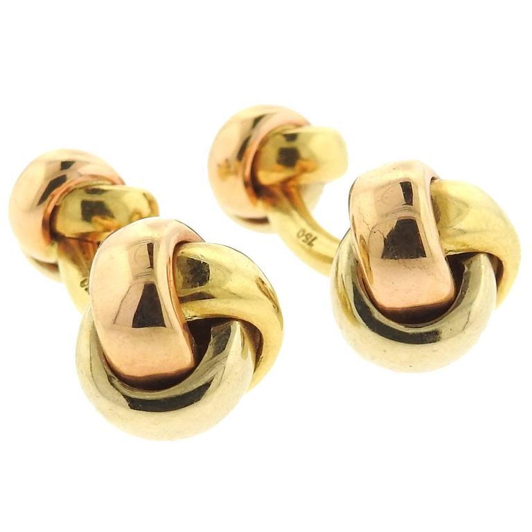 Cartier Trinity Tri Color Gold Knot Cufflinks 1