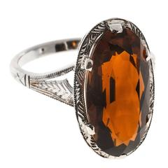 1940 Oval 5.00 Carat Madera Citrine White Gold Ring