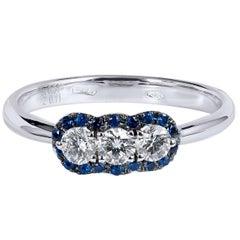 Three Diamond Blue Sapphire Pave White Gold Ring
