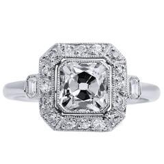 Peruzzi 1.29 Carat Cut Diamond Platinum Engagement Ring