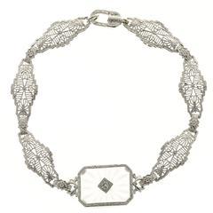Art Deco Diamond Quartz Pierced Filigree Gold Link Bracelet