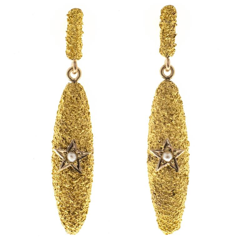 Victorian Pearl Textured Star Gold Dangle Earrings