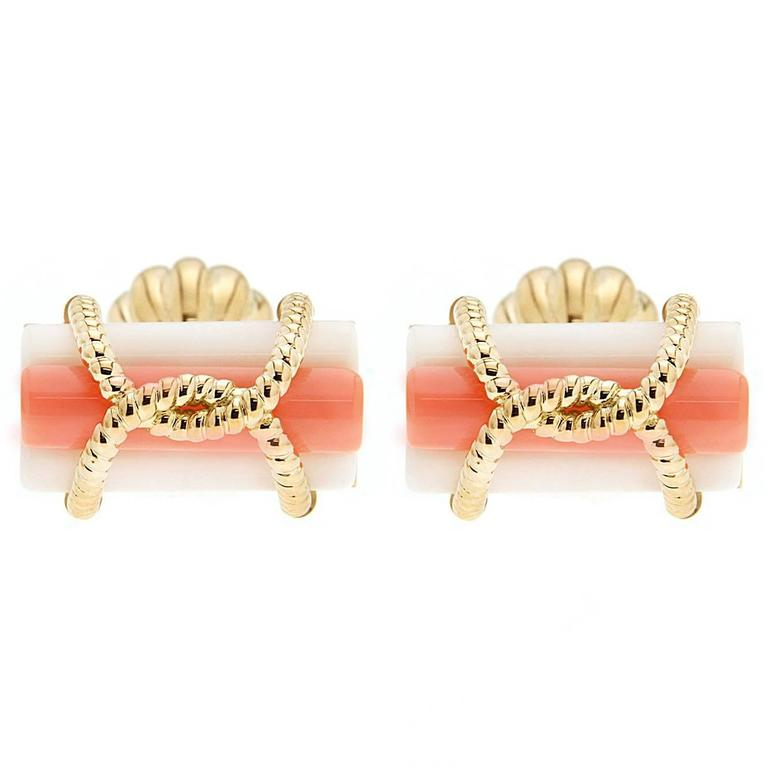 Triple coral tube gold wire cufflinks for sale at 1stdibs for Triple j fine jewelry