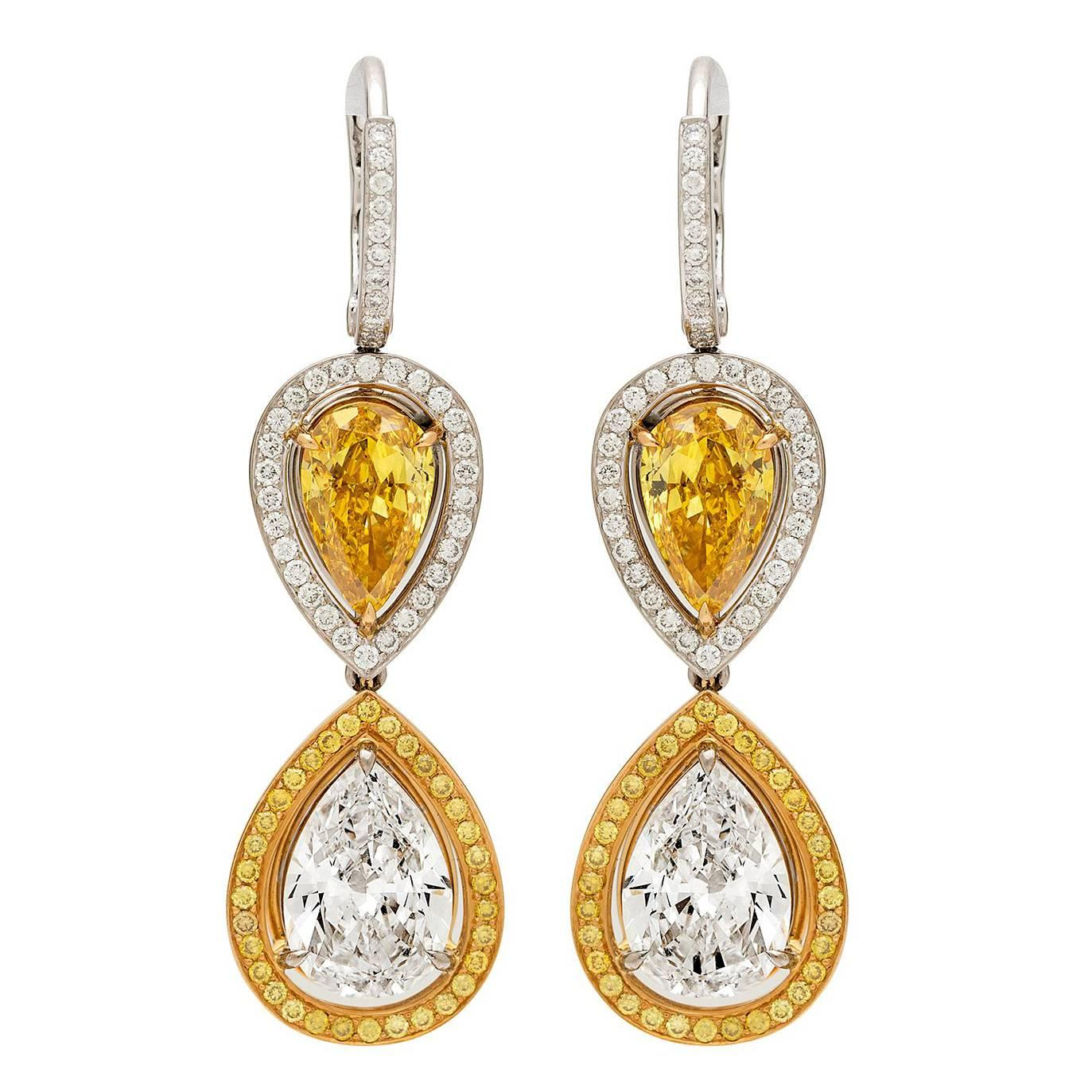 GIA Fancy Vivid Yellow Diamond Gold Earrings
