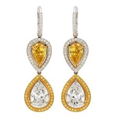 GIA Fancy Vivid Yellow Diamond Gold Earrings