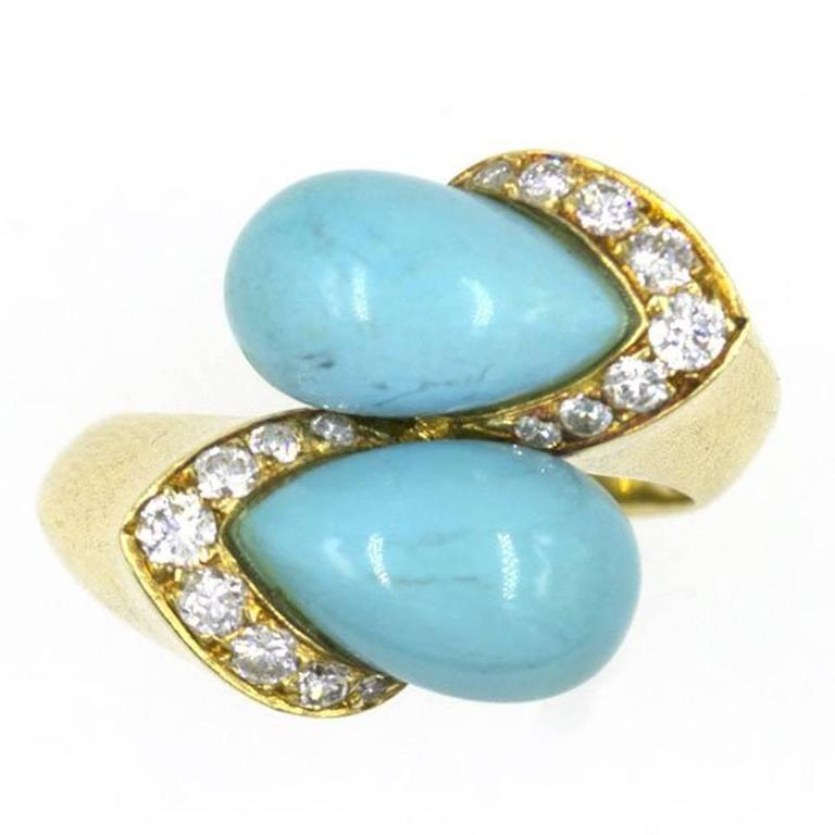 1960s Van Cleef & Arpels Turquoise Diamond Gold Bypass Ring 1