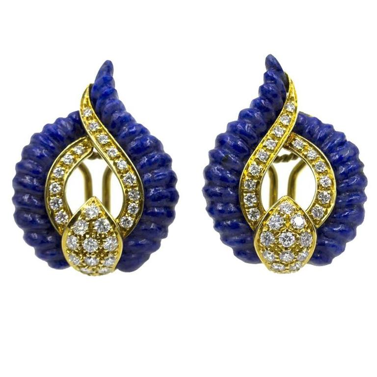 Swiss Carved Lapis Lazuli Diamond 18 Karat Yellow Gold Clip Earrings