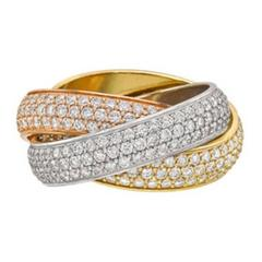 Cartier Trinity Pave Diamond Tri-Color  Gold Ring Size 6