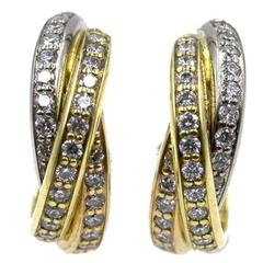 Cartier Trinity Diamond 18 Karat Tri-Color Gold Hoop Earrings