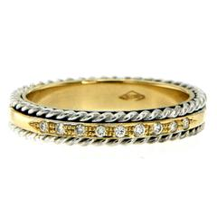 Rope Design Diamond Gold Band Ring