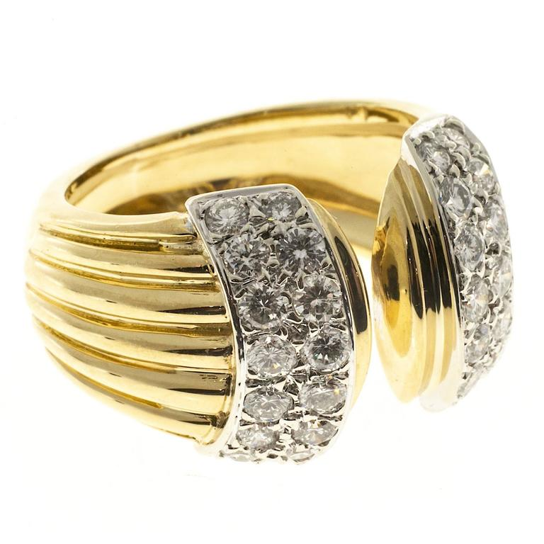 Diamond Open Ribbed Gold Cocktail Ring