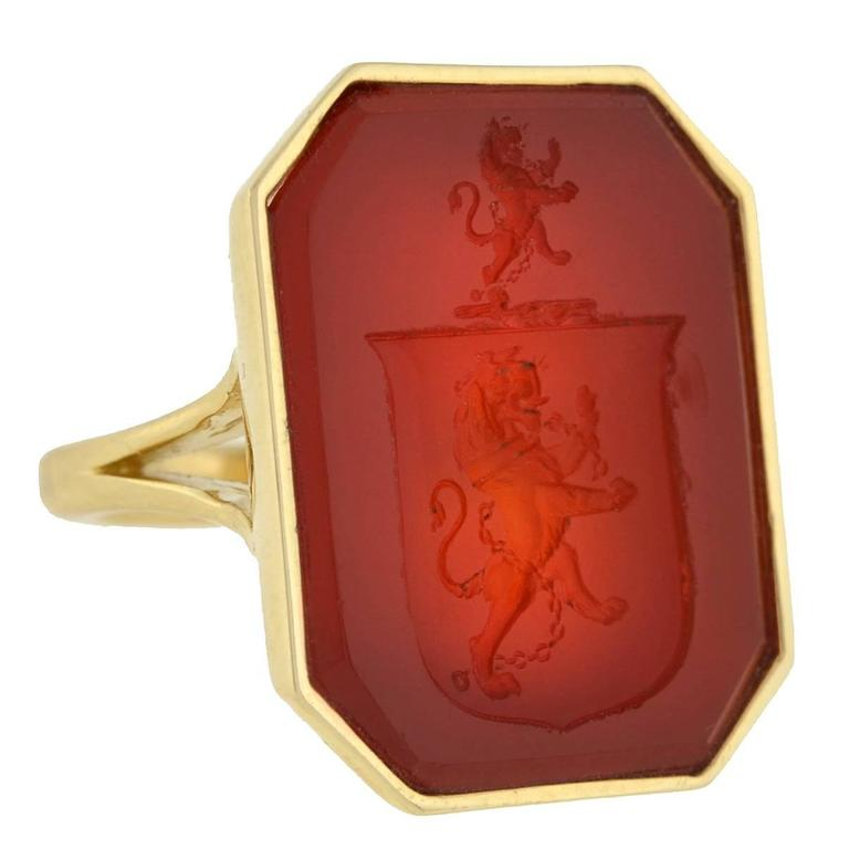 Victorian Carnelian Crest Gold Mounted Signet Ring 1