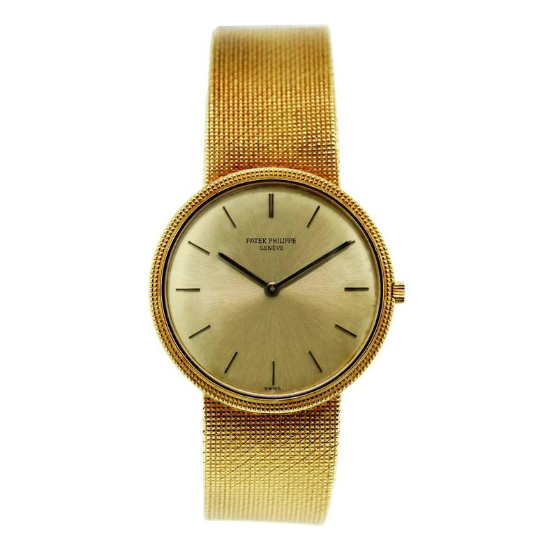 Patek Philippe Yellow Gold Manual Wind Wristwatch For Sale