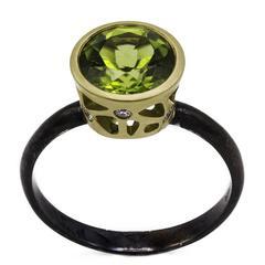 Round Peridot and Diamond Ring Gold with Oxidized Rhodium Band