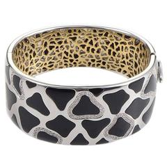 Roberto Coin Panda Onyx Diamond Two Color Gold Bangle Bracelet
