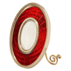 Important Faberge Red Enamel Gold Picture Frame