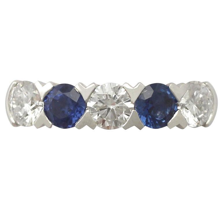 2016 0.62 Carat Sapphire and 0.95 Carat Diamond, Platinum Five Stone Ring