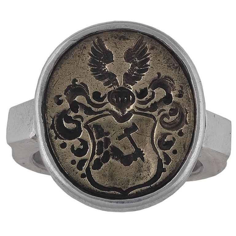 Antique 16th Century North Germany Baltic States Silver Merchant's Ring 1