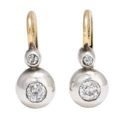 1940s Twin Diamond Leverback Earrings