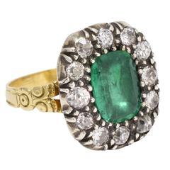 Antique Georgian Emerald Diamond Cluster Ring