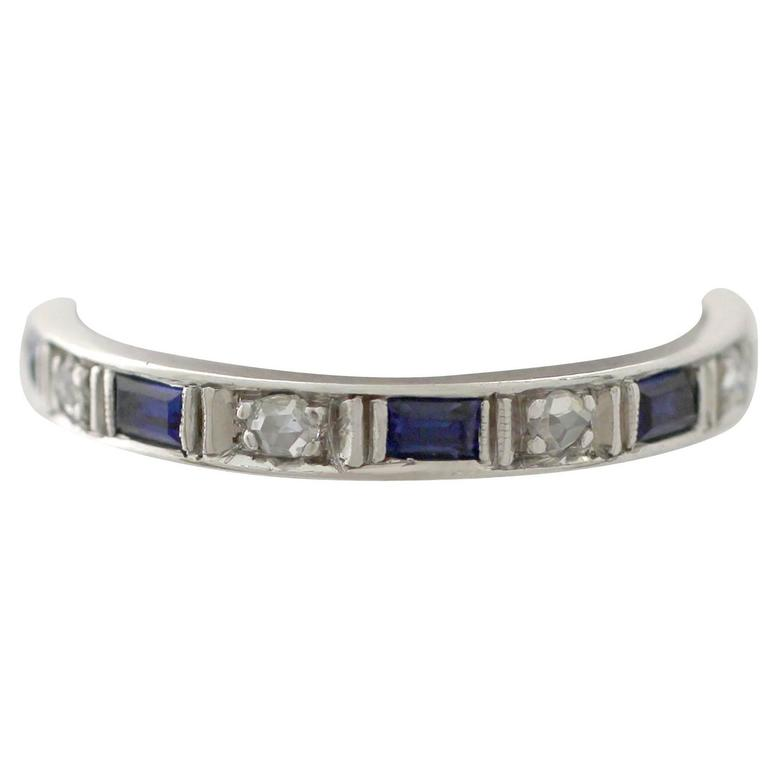 1950s 0.30 Carat Sapphire and 0.27 Carat Diamond, 18 k White Gold Eternity Ring For Sale