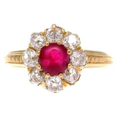 Antique French Ruby Diamond Gold Ring
