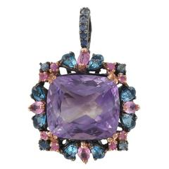 Unique Amethyst Topaz and Sapphire Pendant Brooch