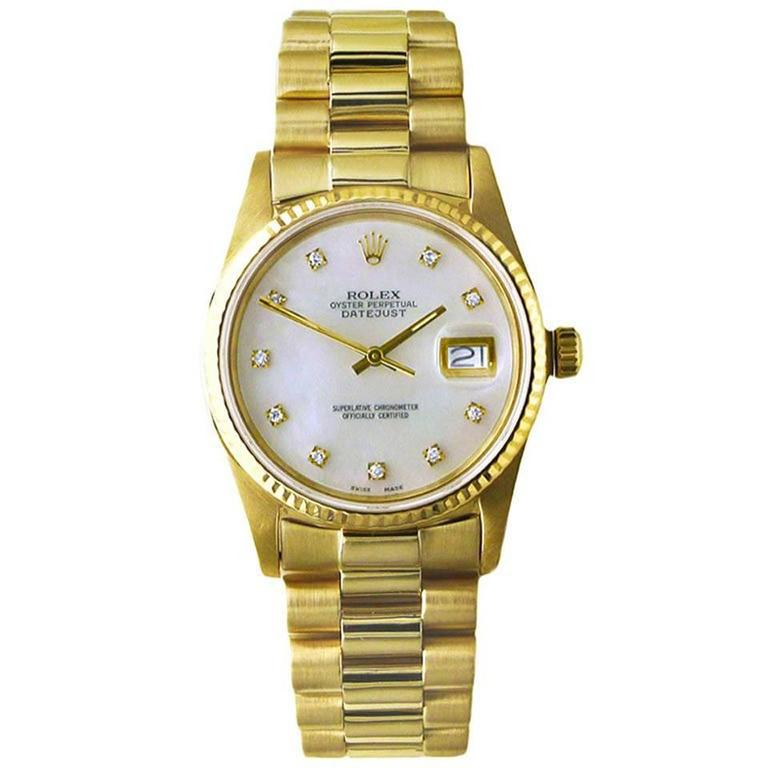Rolex Yellow Gold Diamond Perpetual Datejust Automatic Wristwatch Ref 16018