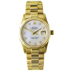 Rolex Yellow Gold Diamond Perpetual Datejust Automatic Wristwatch Ref 16018
