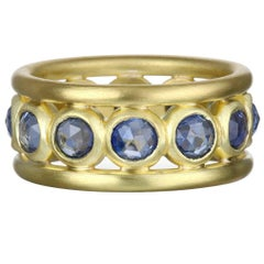Faye Kim Rose Cut Blue Sapphire Gold Band Ring