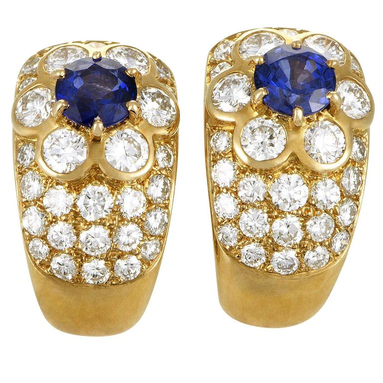 Van Cleef & Arpels Fleurette Diamond Gold Clip-on Earrings For Sale
