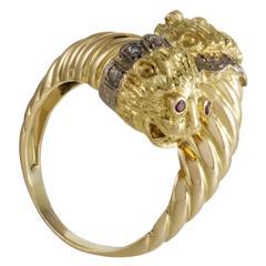 Ilias Lalaounis Ruby Diamond Yellow Gold Lion Bypass Ring