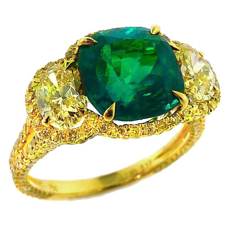 "Important ""Vivid Green"" Natural Colombian Emerald and Fancy Yellow"