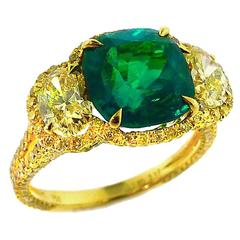 "Important ""Vivid Green"" Natural Colombian Emerald and Fancy Yellow Diamond Ring"