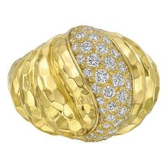 Henry Dunay  Diamond Hammered Yellow Gold Ring